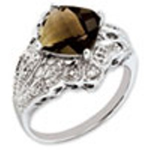 Sterling Silver Genuine Smokey Quartz & Diamond Ring