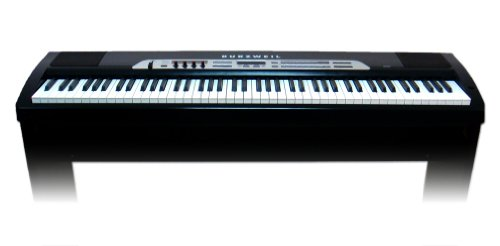 Kurzweil Sp2Xs 88 Note Digital Stage Piano, Hammer Action Keys, 64 Programs, 64 Voice Polyphony, Includes Two 6 Inch Speakers And Stand, Black And Chrome