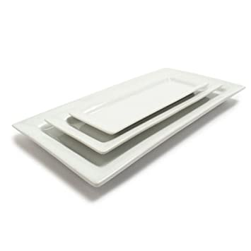 Sur La Table Blanc Rectangular Platters 59909-SET , Set of 3 , White