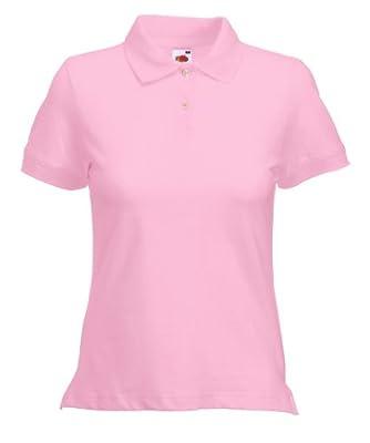 Fruit of the Loom Women's Short SleevePolo Shirt - Pink - Light pink - Medium
