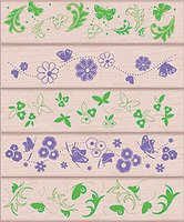 Butterflies and Flowers Wood Mounted Rubber Stamp Set (LL209)