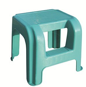 2-Step Small Sturdy Foot Step Stool- Plastic Legs Caravan Ladder Disability Aid (Blue)