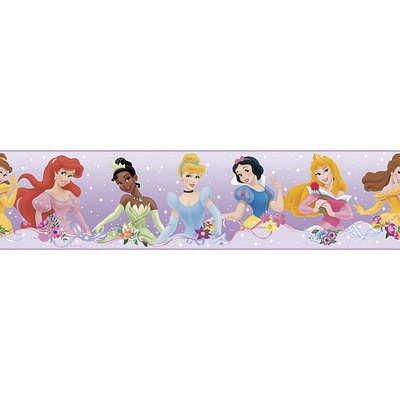 (5X180) Disney Princess - Dream From The Heart Purple Peel & Stick Border Wall Decal