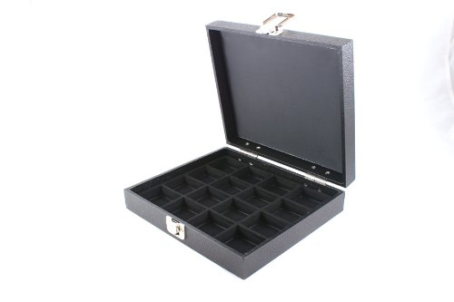 Display Case with Solid Lid & Clasp +Black 16 Compartment Insert