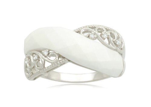 Sterling Silver Crisscross Filigree White Agate Diamond Ring (0.03 cttw, I-J Color, I2-I3 Clarity), Size 8