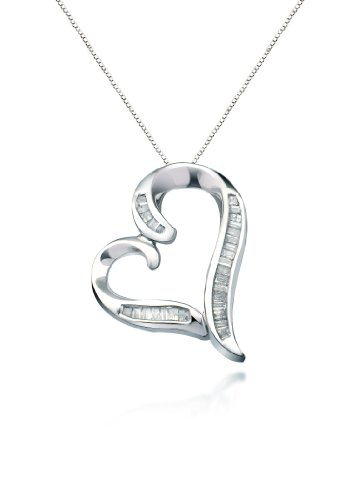 """10k White Gold Diamond Heart Pendant 1/4 Cttw, 18"""""""