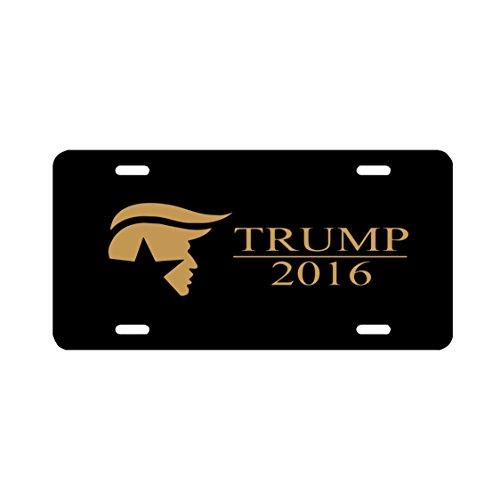 Trump 2016 Presidential Campaign Sticker Vinyl Decal Car Truck Bumper (Car Tag -- Gold on Black) (Universal Bush Bumper compare prices)