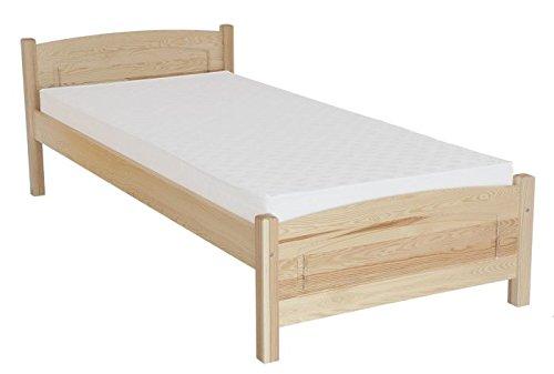Kinderbett / Jugendbett Kiefer massiv Vollholz natur 80, inkl. Lattenrost – Abmessung 120 x 200 cm