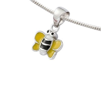 Sterling Silver Yellow & Black Enamel Bee Pendant (Sold alone: chain not included)