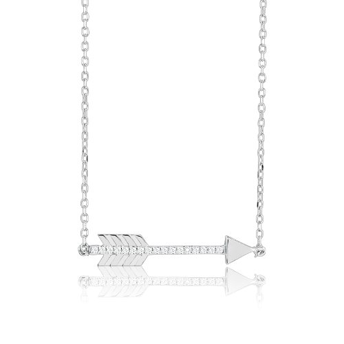 """Sterling Silver 16"""" + 2"""" Extension CZ Arrow Necklace"""