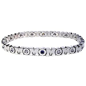 Genuine Blue Sapphire Sterling Silver MOM Bracelet