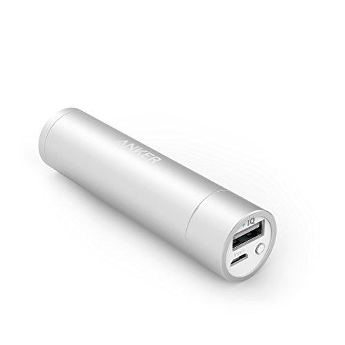 Anker PowerCore+ mini (3350mAh Panasonic製セル搭載 高品質モバイルバッテリー) 超小型 スティックタイプ iPhone 6 / 6 Plus, iPad Air 2 / mini 3, Galaxy S6 / S6 Edge  各種スマホ等対応 【PowerIQ搭載】(シルバー)
