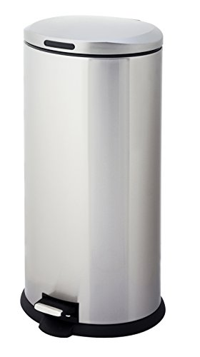 HomeZone VA40914A 30-Liter Stainless steel Oval Step Trash Can (Tall Trash Cans With Lids compare prices)
