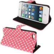 Dot Series Leather Case with Holder for iPhone 5 5S (Watermelon Red)