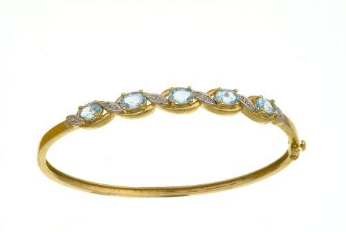 Ladies' Diamond and Blue Topaz Bangle, 9ct Yellow Gold, Prong Setting 0.05 Carat Diamond Weight, Model PBC1838