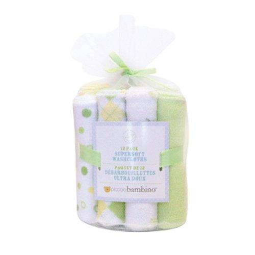 Piccolo Bambino Set of 12 Essential Washcloths, Yellow