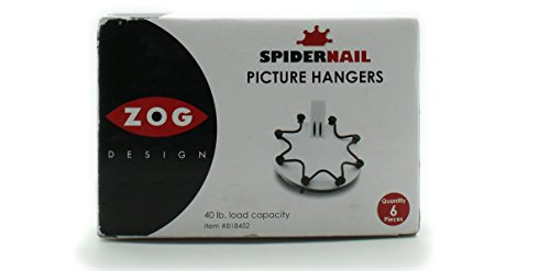 Spider Nail Easy to Use Picture Hangers By Zog Design (40lb Load Capacity)