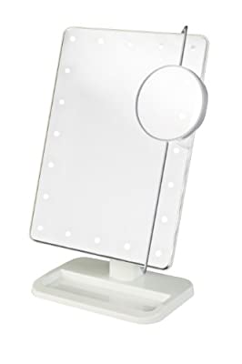 Jerdon Portable LED Lighted Adjustable Makeup Mirror, 10X Magnification, White, 1 ea