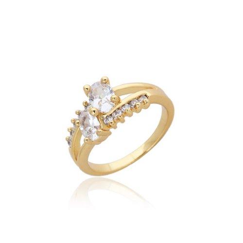 C-Princessリング 指輪 ring 18Kゴールドメッキ コーティン ラインストーン レディース 女性 アクセサリー ジュエリー ウェディング エンゲージリング バレンタインデー (16)