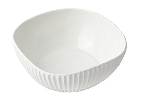 Bon Chef 9913WHITE Aluminum Square Ribbed Bowl, Sandstone, White