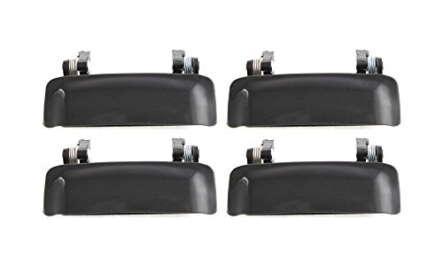 Evan-Fischer EVA18772063818 New Direct Fit Exterior Door Handles for Set of 4 Front and Rear Left and Right Side Plastic Smooth Black Replaces Partslink# FO1310117 (99 Explorer Door Handle compare prices)