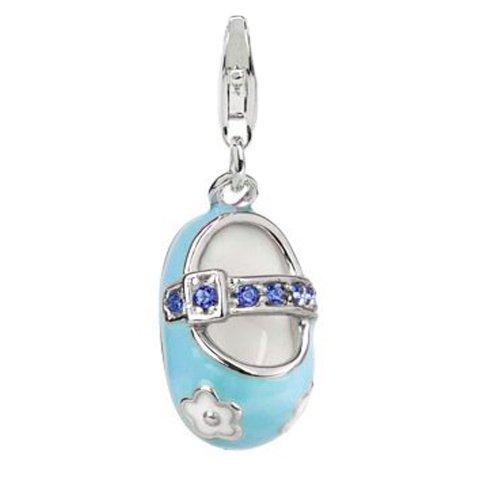 Sterling Silver Links Charm Boy Baby Shoe Blue Enamel Sapphire Swarovski Crystal front-220495
