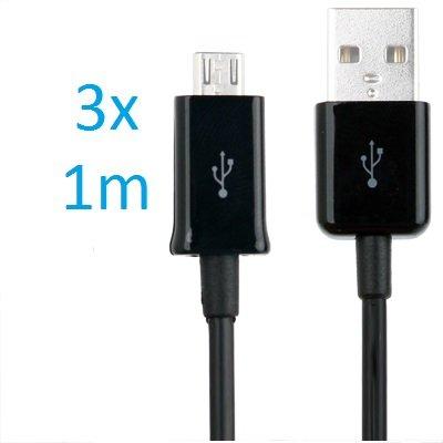 3 x Samsung Galaxy S4 Datenkabel / Ladekabel / S 4 / S IV GT-I9500, GT-I9505 / S4 Mini - Micro USB / Premium Highspeed Kabel in schwarz - 1 Meter - von THESMARTGUARD