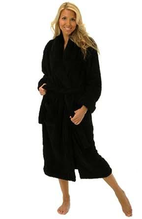 Del Rossa Women's Super Plush Microfiber Fleece Bathrobe Robe, Small Medium Black (A0302BLKMD)