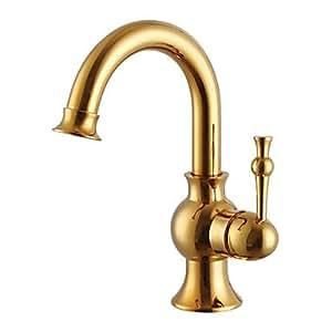 Ottone lucido contemporary fine un foro singola maniglia del bagno rubinetti casa e - Rubinetti bagno amazon ...