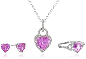 Sterling Silver Heart Created Pink Sapphire and Diamond Ring Pendant Necklace and Earrings Box Set, Size 7