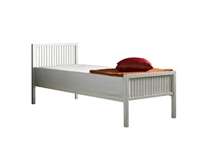 Boston Single Metal Bed 3ft in Ivory White(off White) with Orthopaedic Mattress