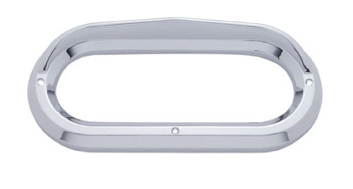 "(2) Oval Chrome Visor Bezels / Covers 6"" Grommet Mounted Led Stop Tail Lights"