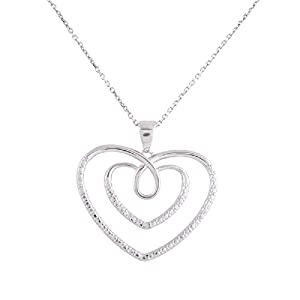 Sterling Silver Rhodium Plated Diamond Accent Double Heart Pendant Necklace, 18