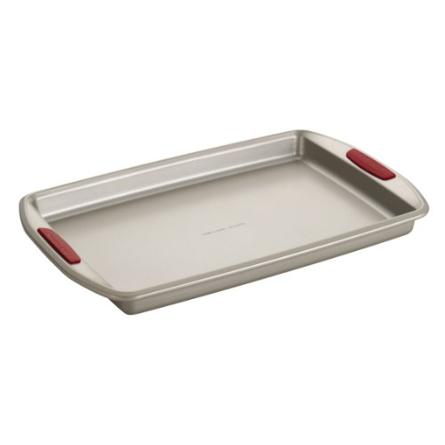 KitchenAid Gourmet Nonstick Bakeware 10-Inch by 15-Inch Cookie Pan with Red Anti-Slip Grips