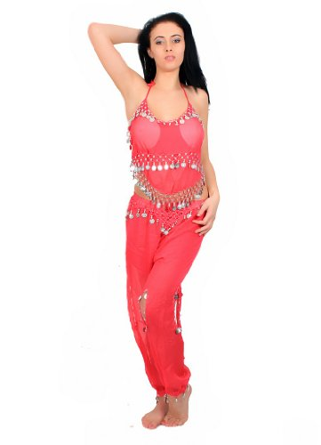 Belly Dance Costume With Harem Pants & Halter Top (Fuchsia/Silver) [Apparel]