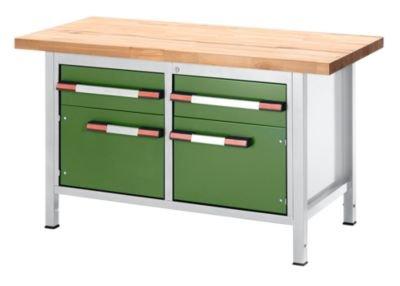 EUROKRAFT-Werkbank-hhenverstellbar-mit-Buchemassivplatte-2-Schubladen-2-Tren-Breite-1500-mm-lichtgrau-grn-Arbeitsplatz-Arbeitstisch-Montagetisch-Werkbank-Werkstatt-Werktisch