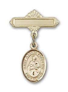 14K Gold Baby Badge with St. Gabriel Possenti Charm and Polished Badge Pin