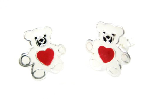 White TEDDY BEAR Epoxy Color 925 Sterling Silver Post/stud CHILDRENS Earrings