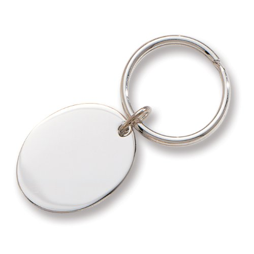 Polished Silver Oval Key Ring