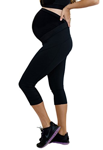 Mumberry Maternity Activewear Move Workout Capris with Belly Band Support