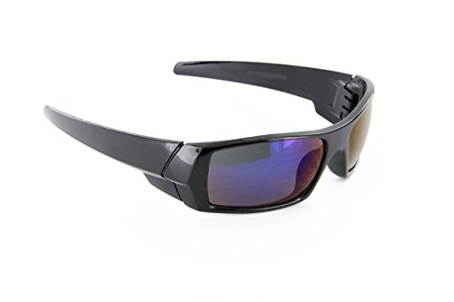 MJ EYEWEAR Men Black Frames and Blue Lens Sport Wrap Around Sunglasses (Gas Can Sunglasses compare prices)