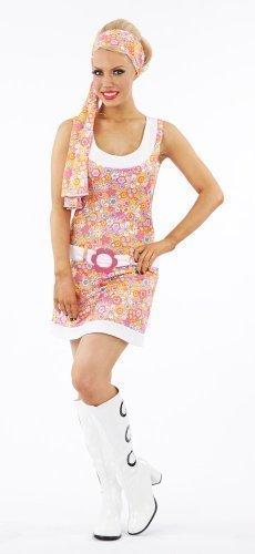 Ladies 1970s 70s Flower Power Go Go Fancy Dress Costume - Size XL 16-18