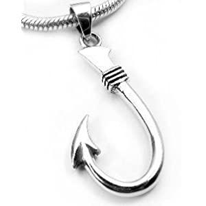 neat sterling silver fish hook or fishing pendant