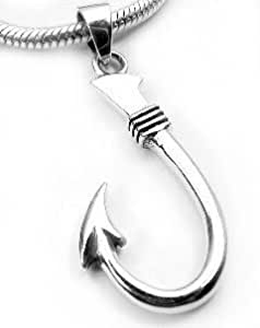 Neat sterling silver fish hook or fishing for Silver fish hook necklace