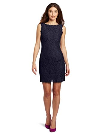 Adrianna Papell Women's Sleeveless Lace Dress, Navy, 2