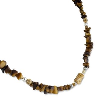 Sterling Silver, Tiger Eye, and Picture Jasper Long Beaded Necklace - 36