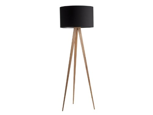 Tripod Wood Stehlampe Schwarz