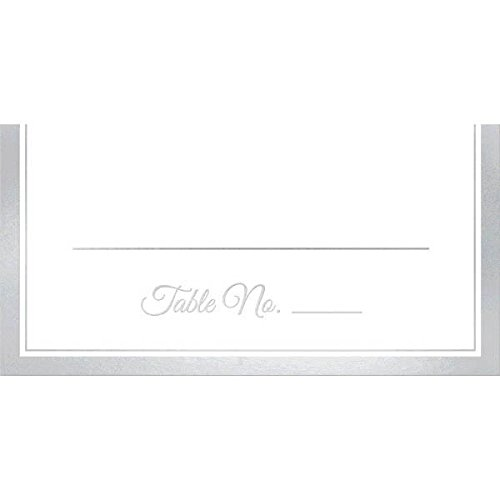 "Amscan Elegant Place Card with Trim (50 Pack), 4 x 4"", White/Silver"
