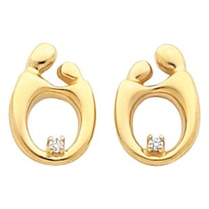 14k Yellow Gold Mother and Child Diamond Post Earring
