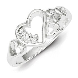 Genuine IceCarats Designer Jewelry Gift Sterling Silver Cz Heart Ring Size 7.00